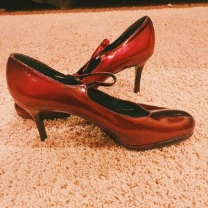 Red Stuart Weitzman Closed-Toe Heels with Straps